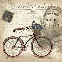 vintage bicycle images for decoupage Decoupage Vintage, Vintage Diy, Vintage Labels, Vintage Ephemera, Vintage Cards, Vintage Paper, Vintage Postcards, Images Vintage, Photo Vintage