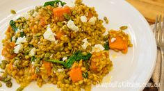 Sweet potato and spinach barley risotto