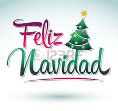 Illustration about Feliz Navidad - Merry Christmas spanish text - Vector christmas tree.