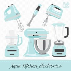 Vector illustrations of Kitchenaid products for projects and recipe boo… So cute! Vector illustrations of Kitchenaid products for projects and recipe books on Etsy Tiffany Blue Kitchen, Teal Kitchen Decor, Cute Kitchen, Kitchen Redo, Kitchen Tools, Kitchen Electronics, Kids Electronics, Clipart, Baking Mixer