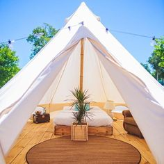 Please someone buy me a bell tent! How gorgeous are they! I would go camping eve. Please someone buy me a bell tent! How gorgeous are they! I would go camping every week! Bell Tent Glamping, Yurt Tent, Cabin Tent, Camping Glamping, Luxury Camping, Camping Hacks, Outdoor Camping, Teepee Tent Camping, Rv Hacks