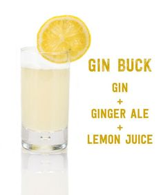Gin Buck: Gin, Ginger Ale, Lemon Juice. 17 Three-Ingredient Cocktails You Should Know How To Make via @buzzfeedfood