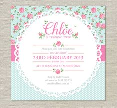 Shabby Chic BIrthday Invitations