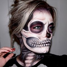 This is a perfect look for Halloween. Use white and black face paint to create…