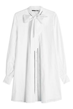 McQ Alexander McQueen - Cotton Dress with Tie at Neck