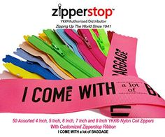Zipperstop Wholesale YKK®- 50 Assorted 4 Inch, 5 Inch, 6 Inch, 7 Inch and 8 Inch Nylon Coil Zippers YKK® Skirt & Dress Zippers Closed Bottom Made in USA with Customized Zipperstop Ribbon - Crafter's Special Funny Sweaters, Disney Sweaters, Craft Projects, Sewing Projects, Cat Sweatshirt, Cheap Hoodies, Discount Nikes, Shirts For Teens, Warm Coat