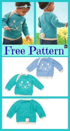 Super Cute Knit Bunny Pullover – Free Patterns #freeknittingpattern #bunny #babygift #sweater