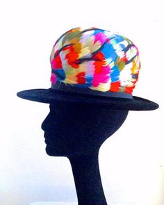 a9ddfb406d0 Vintage 60 s Colorful Feather Velvet Hat by thevintagepsychic Velvet Hat