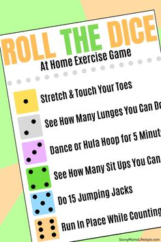 Print this fun Roll The Dice kids game that encourages exercise and moving, while having fun! It's a boredom buster that get's them away from screen time for a bit. games for kids ideas Physical Activities For Kids, School Age Activities, Physical Education Games, Speech Therapy Activities, Articulation Activities, Work Activities, Fitness Games For Kids, Fitness Activities, Exercise For Kids