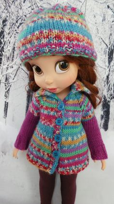 """handknit outfit :multicolour  Cardigan, Tights & Hat for Disney Animators 15"""" doll"""