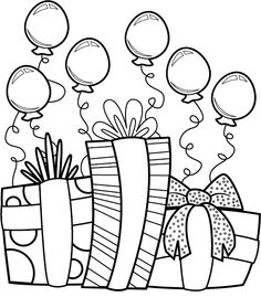 Birthday Presents With Small Balloons Coloring Pages For Kids Printable Birthdays