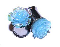 Plugs 00g 10mm Blue Rose Flower Glitter Beautiful by PlugsforGirls, $17.99