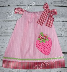 Pink and Gingham Sweet Strawberry Pillowcase by JamieLaneDesign