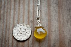 Darker Yellow Chalcedony Necklace Briolettes by LoveGemStudio