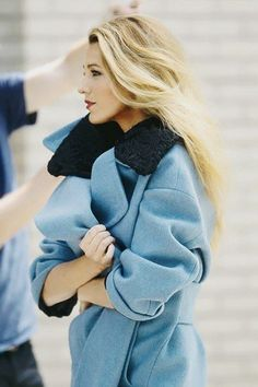 Blake Lively in a gorgeous blue coat. Latest fashion trends.