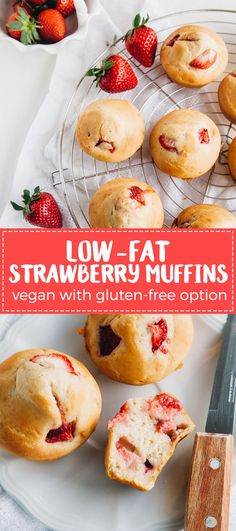 Low-Fat Vegan Strawberry  Muffins (Gluten-free Option) |  WallflowerGirl.co.uk #vegan