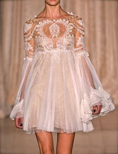 Marchesa | S/S 2013 | sheer white lace & tulle baby doll dress