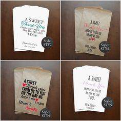 These customized treat bags are a great way to add a personal touch to any event! Use them as candy, cookies, or popcorn buffet bags for weddings,