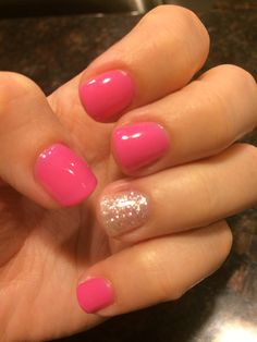 Love my pink & silver sparkle shellac nails!