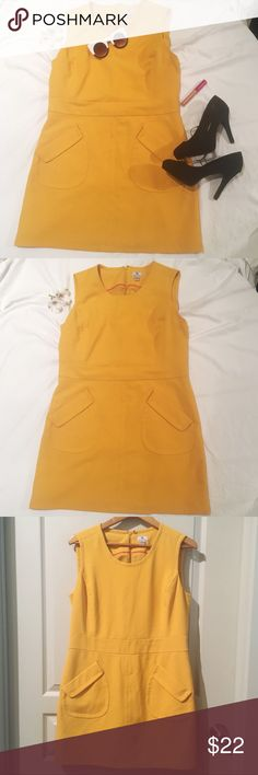 Mustard Yellow Mod Dress Size 12/14 Gorgeous mustard yellow mod dress with real pockets on the front. Fully lined. Size is 14, but kinda slim for a 14, it might fit a 12 better.  🛍Other items shown are for sale in my Closet. Bundle and save!! Sunglasses Shoes lipstick (color shown: Sunset Orange) Worthington Dresses Mini