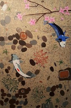 In still water under the bow of a cherry blossom, two Koi swim in a circular pattern, evoking the image of a ying-yang symbol Ying Yang Symbol, Circular Pattern, Freshwater Fish, Koi, Cherry Blossom, Fresh Water, Kids Rugs, Symbols, Birds