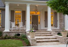 traditional exterior by Highland Homes, Inc. White washed brick steps and front porch go well with the door/shutter color. Front Porch Steps, Front Porch Design, Porch Designs, Porch Columns, Front Entry, Traditional Porch, Traditional Exterior, Colonial Exterior, Exterior Design