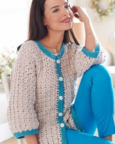 Bernat Satin - Cluster Stitch Cardigan (free crochet pattern). 3/4 sleeves and contrast edging make this cardigan a perfect spring-to-summer garment!