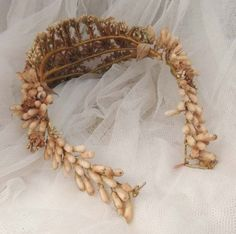 Antique FRENCH WAX Floral Bridal Tiara Wedding Crown French Crown from aplaceofdistinction on Ruby Lane