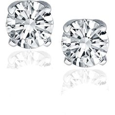 14K White Gold Diamond Four Prong Stud Earrings (1-2 c.t. tw.) (730 CAD) ❤ liked on Polyvore featuring jewelry, earrings, accessories, jewelry - earrings, clear earrings, white gold diamond earrings, clear crystal earrings, 14k diamond earrings and 14k earrings