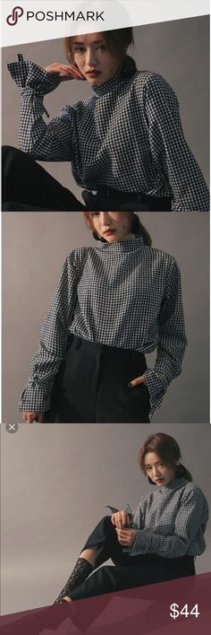 Stylenanda mock neck self-tie cuff blouse Brand new without tag Color is brown (couldn't find a same color stock photo) Super cute design Great quality Bought from Stylenanda official website stylenanda Tops Blouses