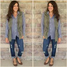 Cabi can do this, vintage slim destruction boyfriend jean or spring 16 skinny destructed jean with vintage check shirt or substitute this season's Siena Blouse or Martini Top and add the Spring '16 Explorer Vest! Easy and cute! Www.katyreitman.cabionline.com