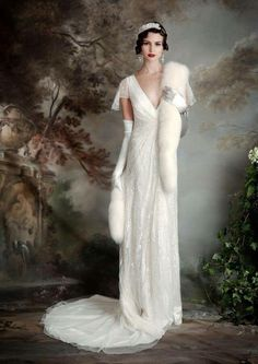 28 Funkelnden Art-Deco-Stil Hochzeit Kleider Muslim wedding dress, more like dream wedding dress. Mermaid Long-Sleeved Dress With Giveaway Watteau Train – Dorris Wedding traditional catholic long sleeve lace high collar wedding dress Art Deco Style Weddings, Art Deco Wedding Dress, Wedding Art, Gatsby Wedding Dress, Great Gatsby Gown, Elegant Wedding, Fall Wedding, 1920s Vintage Wedding Dress, Wedding Pics