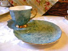 RESERVED Tea Set - Royal Albert Gossamer Breakfast Set / Tennis Set in Blue - Tea Set Duo - Tea Cup and Large Saucer