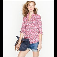 J.crew floral button up in great condition. amazing print. J. Crew Tops Button Down Shirts