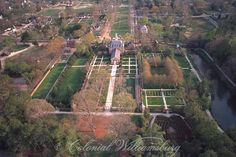 Aerial view of the Governor's Palace and gardens at Colonial Williamsburg, Virginia. Photo by David M. Doody