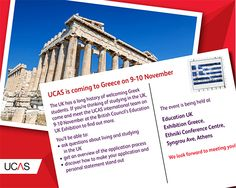09/10 November 2013 - we're heading to Athens, Greece. Need some advice from our International team? Come say hello and ask your questions #UCAS #HE #heretohelp