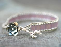Sterling Silver and Pink Square Beaded Single Leather Wrap Bracelet Handmade Cute use of tile beads.