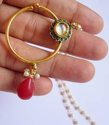 Buy NOSE RING  BRIDAL press NATH Gold plated Red Green Kundan nose-ring online