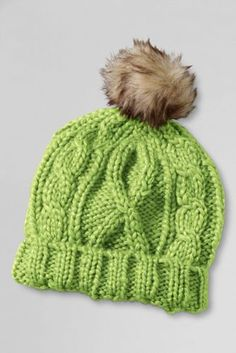 50e4eafb46e Kids  Aran Cable Knit Pom Pom Hat from Lands  End