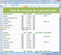 Aprenda a fazer sua lista de mercado no Excel