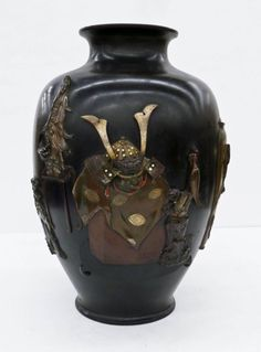 Lot 52- Impressive Genryusai Seikoko (1868-1912) Japanese Mixed Metals Bronze Vase 21''x15''. Museum quality piece similar in form to Sumida Gawa ceramic works.