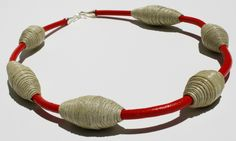 Loretti Design Elegance Collection  Paper beads, leather necklace with silver clasp. www.lorettidesign.com
