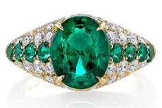 Emerald and Diamond Dome Ring