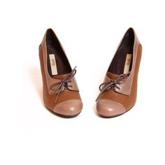 """Pink Studio """"Jona"""" oxford pumps in tan ($50) ❤ liked on Polyvore featuring shoes, heels, footwear, scarpe, women, lace oxfords, sexy shoes, synthetic shoes, high heel oxfords and lace shoes"""