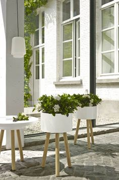 FLOWER POTS: JEAN-BAPTISTE, Vases & Bowls - Mixed-use support for outdoor pots, designed to be used either with a top on which to arrange vases, or el Modern Outdoor, Holder Design, Modern Vase, Flower Pot Design, Ligne Roset, Modern Flower, Diy Garden, Outdoor Stools, Indoor Plant Pots