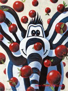 """Tableau éléphant """"Titou pomme"""" de Vincent Dufour (Pastel 50/65cm). Tous les tableaux et déclinaisons de Titou l'éléphant sur http://www.vincentdufour.com/fr/16-le-monde-de-titou-tableau-chambre-enfant-tableau-chambre-bebe#/animal-elephant # tableau, chambre, enfant, bébé, dessin, peinture, déco, décoration, pomme"""