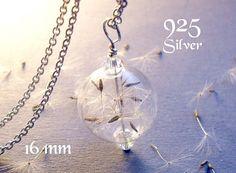 Dandelion necklace. dandelion jewelry Sterling silver