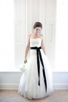 bridal black satin sash