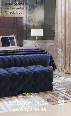 Master bedroom design with blue decor. Modern design for dream house. Get ideas and inspiration on our website.