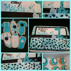 Baby Blue Safari baby shower theme cake or pink for a baby girl